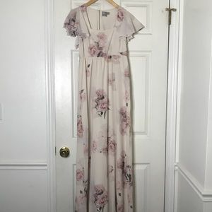 ASOS bridesmaid flutter sleeve dress floral 2